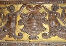 Blason non identifié figurant sur un panneau en bois de style (ou d'époque ?) Renaissance; peut-être italien.Merci de me faire part par message de toute suggestion d'identification.