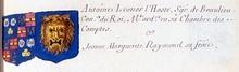 VOLUMES RELIES du Cabinet des titres : recherches de noblesse, armoriaux, preuves, histoires généalogiques. Armorial général de France, dressé, en vertu de l'édit de 1696, parCharles D'HOZIER. (1697-1709). XXIV Paris, II. page 1261