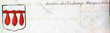 VOLUMES RELIES du Cabinet des titres : recherches de noblesse, armoriaux, preuves, histoires généalogiques. Armorial général de France, dressé, en vertu de l'édit de 1696, parCharles D'HOZIER. (1697-1709). XXIII Paris, I. page 98