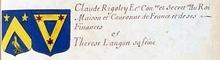 VOLUMES RELIES du Cabinet des titres : recherches de noblesse, armoriaux, preuves, histoires généalogiques. Armorial général de France, dressé, en vertu de l'édit de 1696, parCharles D'HOZIER. (1697-1709). XXIV Paris, II. page 1227