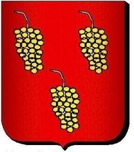 Armes : Longuejoue (Paris) : «De gueules, à trois grappes de raisin d'or, posées 2 & 1».