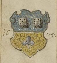 Voir Armorial des Stettmeister et Ammeister de Strasbourg. Attribué à Sebald Buheler pour la période 1582-1589, complété par d'autres pour les deux siècles suivants.3 autres blasons similaires dans la famille. (L'Alsace Noble. Lehr, 1870)