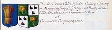 VOLUMES RELIES du Cabinet des titres : recherches de noblesse, armoriaux, preuves, histoires généalogiques. Armorial général de France, dressé, en vertu de l'édit de 1696, parCharles D'HOZIER. (1697-1709). XXIV Paris, II. page 1291