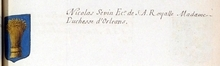 VOLUMES RELIES du Cabinet des titres : recherches de noblesse, armoriaux, preuves, histoires généalogiques. Armorial général de France, dressé, en vertu de l'édit de 1696, parCharles D'HOZIER. (1697-1709). XXIII Paris, I. page 123