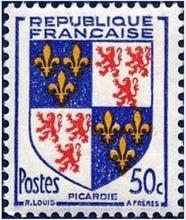 Sur: timbre émis en 1953 par de Ministère des Postes de la République Française.
