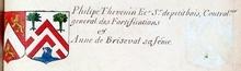 armes de philippe Thevenin ecuyer,seigneur de Petit-bois controleur  general des fortification & de sa femme Anne de Briseval)......................../........................................../ ................./VOLUMES RELIES du Cabinet des titres : recherches de noblesse, armoriaux, preuves, histoires généalogiques. Armorial général de France, dressé, en vertu de l'édit de 1696, parCharles D'HOZIER. (1697-1709). XXIII Paris, I.  page 883