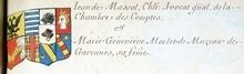 VOLUMES RELIES du Cabinet des titres : recherches de noblesse, armoriaux, preuves, histoires généalogiques. Armorial général de France, dressé, en vertu de l'édit de 1696, parCharles D'HOZIER. (1697-1709). XXIII Paris, I. page 553