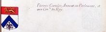 VOLUMES RELIES du Cabinet des titres : recherches de noblesse, armoriaux, preuves, histoires généalogiques. Armorial général de France, dressé, en vertu de l'édit de 1696, parCharles D'HOZIER. (1697-1709). XXIV Paris, II.  page 1087